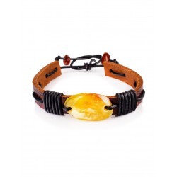 """Bracelet of leather with a piece of natural amber honey """"Copacabana"""""""