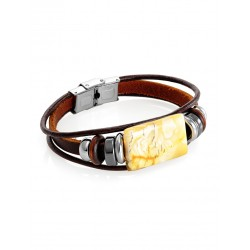 """Bracelet of leather with a natural landscape amber """"Indonesia"""""""