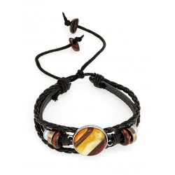 """Bracelet of leather with natural amber and wood """"Indonesia"""""""