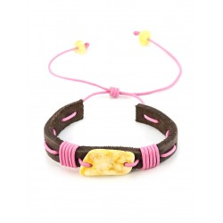 """Bracelet in leather chocolate-colored with a large milky white amber """"Copacabana"""""""