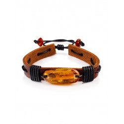 """Bracelet in leather chocolate-colored with golden-amber cognac """"Copacabana"""""""