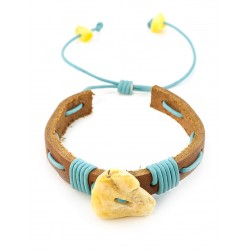 """Bracelet leather light coffee color with a large milky white amber """"Copacabana"""""""