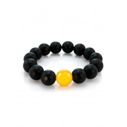 """Bracelet made of natural Baltic amber molded black, decorated with honey bead """"Cuba"""""""