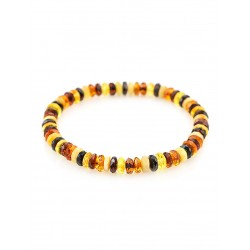 "Bracelet made of natural Baltic amber of different colors ""Caramel motley diamond"""