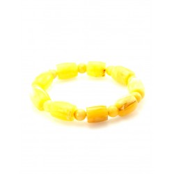 """Bracelet made of natural Baltic amber, honey-colored """"ball and barrel"""""""