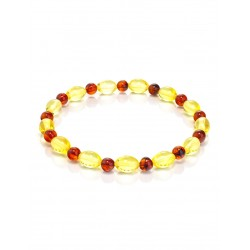 Bracelet made of natural Baltic amber of different shades