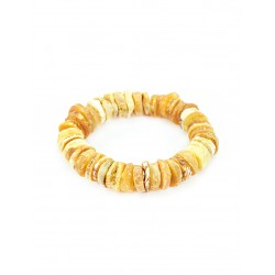 """Bracelet made of natural Baltic amber """"Washers therapeutic light-colored"""""""