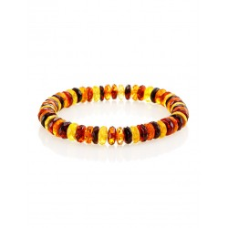 "Bracelet made of natural Baltic amber three colors ""Caramel motley diamond"""