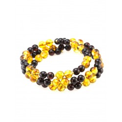 """Bracelet made of natural Baltic amber molded cherry and cognac color """"Angelica"""""""