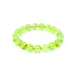 """Bracelet made from freshwater Colombian amber """"Green transparent ball"""""""