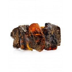 """Bracelet made of natural amber texture with a natural crust """"Pompeii"""""""
