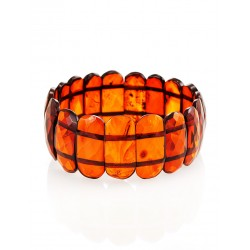 "Bracelet made of natural solid amber ""Faceted plate cognac"""