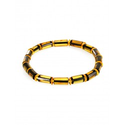 "Bracelet made of natural solid amber ""Caramel barrels faceted"""