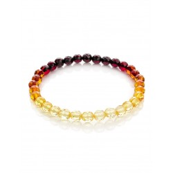 "Bracelet made of natural solid amber of different colors ""Caramel Diamond"""