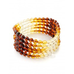 "Bracelet natural amber five series ""Caramel diamond graded"""