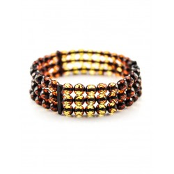 "Bracelet natural amber ""Transparent iridescent caramel"""