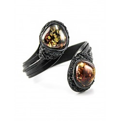 """Bracelet made of genuine leather and two-color amber """"Snake"""""""