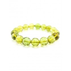 "Bracelet whole Colombian amber bright green ""ball. Diamond Line """