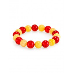 """Bracelet made of solid amber """"Honey and red ball"""""""