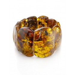 """Bracelet made of solid amber with sparkling texture """"Pompeii"""""""