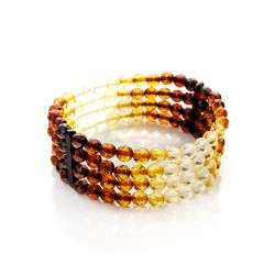 "Bracelet made of solid amber four rows of ""Caramel diamond graded"""