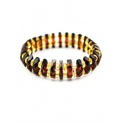 "Amber bracelet ""Mandarin. Diamond Line ""red-hot"