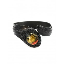 "Bracelet ""Snake"" made of genuine leather with a large amber"