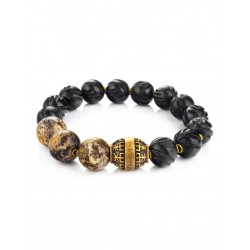"Bracelet ""Cuba"" ebony and natural Baltic amber"