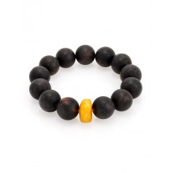 "Bracelet ""Cuba"" molded of natural black amber"