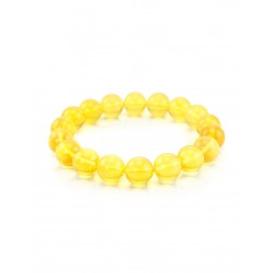 "Bracelet ""Lemon balls"" of beautiful glossy transparent Baltic amber"