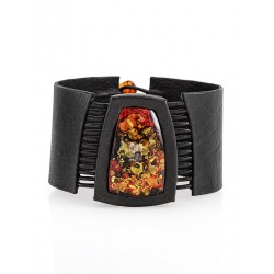 """Cuff bracelet made of genuine leather, decorated with solid amber """"Amazon"""""""