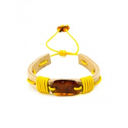 """Bracelet with cognac amber light leather, interwoven with yellow laces """"Copacabana"""""""