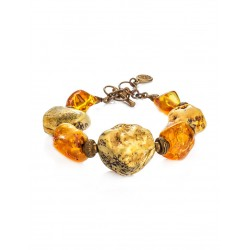 "In ethnic style bracelet made of natural Baltic amber ""Indonesia"""