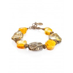 """Bracelet in ethnic style of the natural amber and brass """"Indonesia"""""""