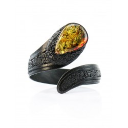 """Bracelet made of genuine leather with a large sparkling amber """"Snake"""""""