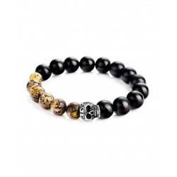 """Bracelet unisex made of wood and natural amber """"Cuba"""""""