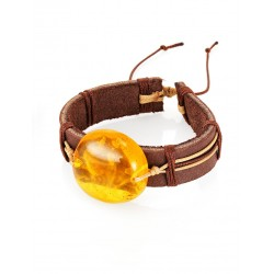 """Bracelet unisex leather and solid amber """"Indonesia"""""""