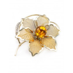 Brooch Beoluna, decorated with natural sparkling amber-colored crystals and lemon