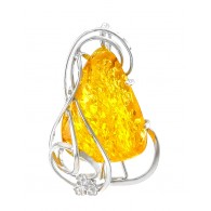 """Brooch-pendant made of natural amber with a beautiful sparkling texture """"Veneto"""""""