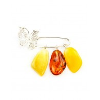 """Pin brooch with amber honey and cognac shades and filigree decoration """"butterfly"""""""