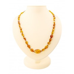 "Beads ""Alenka"" from natural Baltic amber cognac"