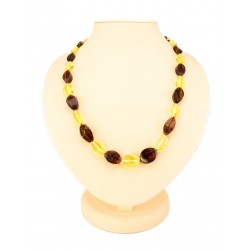 "Beads ""Alenka"" from natural Baltic amber cherry and lemon flowers"