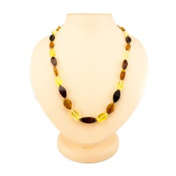 "Beads ""Alenka"" from natural Baltic amber cherry, brandy and lemon flowers"