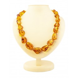 "Beads from natural amber transparent cognac color ""Lollipops large"""