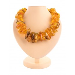 "Beads from natural amber piece ""Wild large motley"""