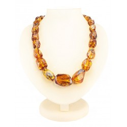 "Beads from natural amber solid saturated cognac ""Lollipops large"""