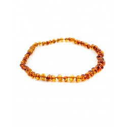"Beads from natural amber baby ""Pebbles cognac"" for children"
