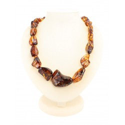 "Beads from natural amber ""Lollipops large brandy-cherry"""