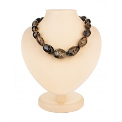 "Beads from natural amber ""Olive black"" with the therapeutic effect"