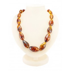 "Beads from natural amber piece ""big plum Brandy"""